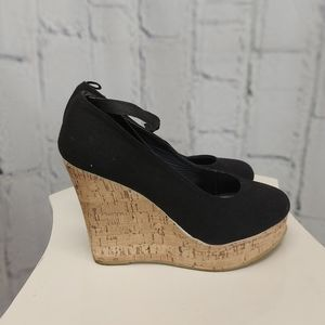 A.co Black and Tan Wedge Shoes Size 7
